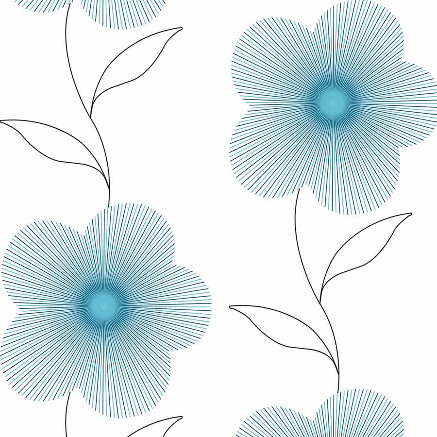 Lineflower Turquoise Roller Blind Bolton Blinds